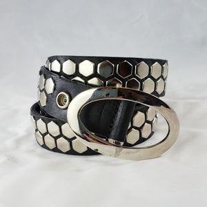 Leatherock Black Leather Silver Stud Disk Belt